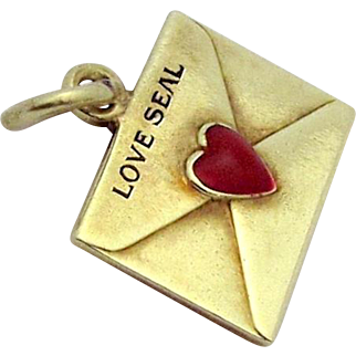 Vintage 14K Gold Love Seal Envelope with Red Heart *Love Letter* Charm 1930s
