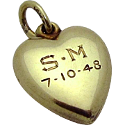 Vintage 14K Gold 3D Love Heart Charm 1940s