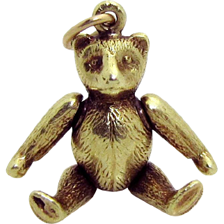 Vintage 14K Gold Sloan & Co. 3D Movable *Articulated Teddy Bear* Charm 1930s