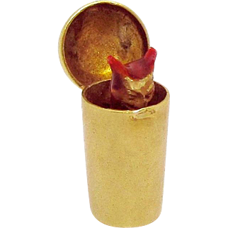 Vintage 14K Gold Sloan & Co. 3D Mechanical Cocktail Shaker with Devil Charm