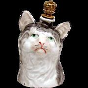 Vintage Art Deco *Tabby Cat Bust* German Crown Top Figural Perfume Bottle