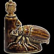 Rare Schafer & Vater Art Deco Scarab Beetle German Crown Top Perfume Bottle