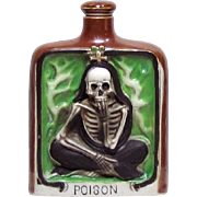Vintage Skeleton Poison Flask Porcelain Whiskey Nip Bottle Japan 1930s