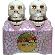 Vintage Skull Nodder Head Salt and Pepper S&P Souvenir Shakers Bill's Place PA 1950s