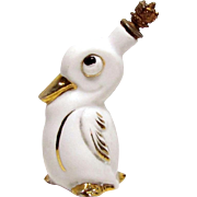 Vintage Googly Eyed Duck German Crown Top Figural Perfume Bottle
