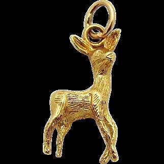 Vintage 14K Gold Female Deer or Doe *Reindeer* Charm
