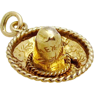 Vintage 14K Gold 3D Mexico *Sombrero* Mexican Hat Charm