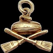 Vintage 10K Gold Curling Stone & Brooms Charm