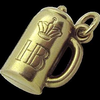 Vintage 8K Gold 3D Hofbrauhaus HB German Beer Stein Charm 333