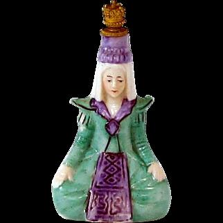 Vintage Art Deco Era Egyptian Queen Woman German Crown Top Perfume Bottle