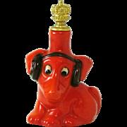 Vintage Goebel Hound Dog with Radio Headset German Crown Top Perfume Bottle