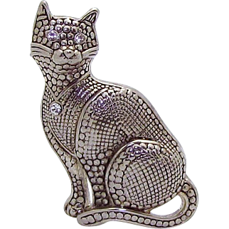 Vintage White Metal Silver Tone Textured Cat Brooch Pin with Rhinestones