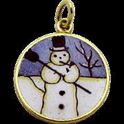 Vintage 14K Gold Sloan & Co. Double Sided Enameled Snowman Charm