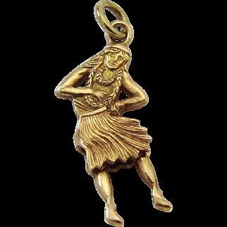 Vintage 14K 3D Articulated Hawaiian Hula Dancer Girl Movable Charm