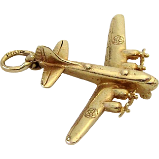 Vintage 14K Gold 3D US Army B-19 Bomber Aircraft Plane Airplane Charm