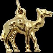 Vintage 14K Gold Solid 3D Camel Charm