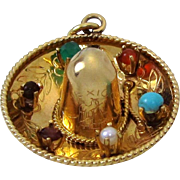Large Vintage 14K Gold 3D Jeweled Mexican Sombrero Hat Charm Pendant