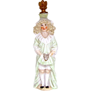 Rare Art Deco Barrison Sister with Cat Risque German Crown Top Perfume Bottle