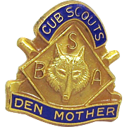 Vintage Cub Scouts BSA Wolf Den Mother Lapel Pin