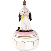 Adorable Long Eared Puppy German Crown Top Perfume Bottle Powder Box Combo