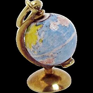Vintage 14K Gold 3D Movable Spinning World Globe Charm