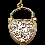 Antique 9ct. 9K Gold Art Nouveau Heart Shaped Padlock Charm