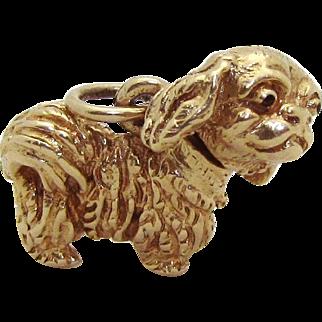 Vintage 14K Gold 3D Movable Pekingese Dog Charm