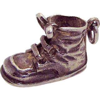 Large Vintage Napier Sterling Silver Baby Shoe Boot Charm/Pendant