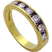 Authentic Tiffany & Co. 18K Yellow Gold Diamond & Sapphire Wedding Band Ring