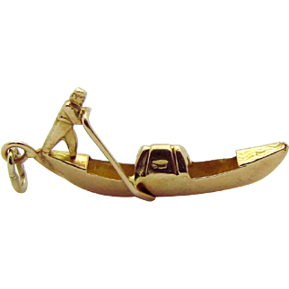 Vintage 18K Gold 3D Venice Italy Gondola Boat Charm