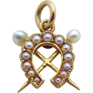 Antique 14K Gold Jeweled Lucky Horseshoe with Crossed Swords Charm