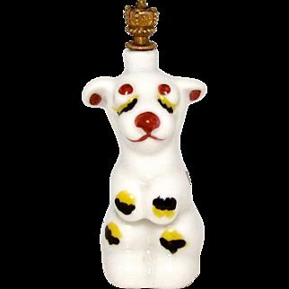 Vintage Art Deco Sleepy Dog German Crown Top Perfume Bottle