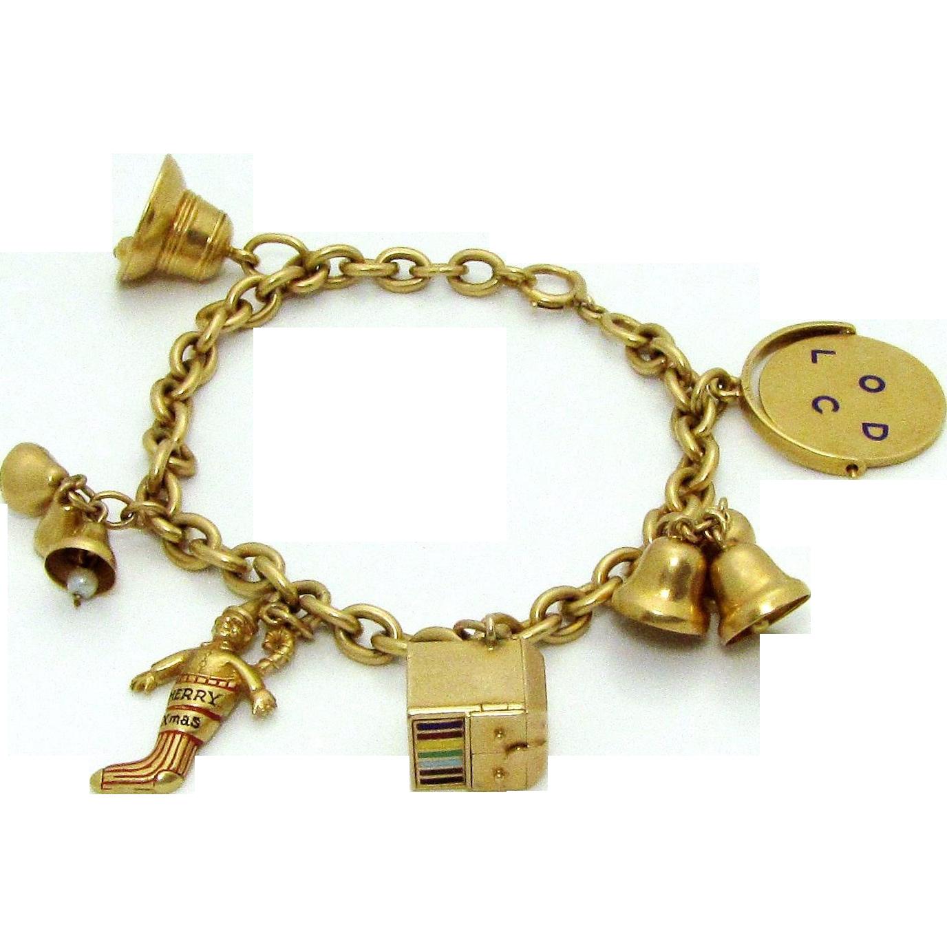 Rare Vintage Tiffany Co 14k Gold Charm Bracelet 1930s 35 9 Grams