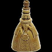 Vintage Figural Queen Lady w/Fan Schafer & Vater German Crown Top Perfume Bottle