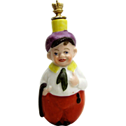 Heinz German Man with Walking Stick Crown Top Figural Perfume Scent Bottle