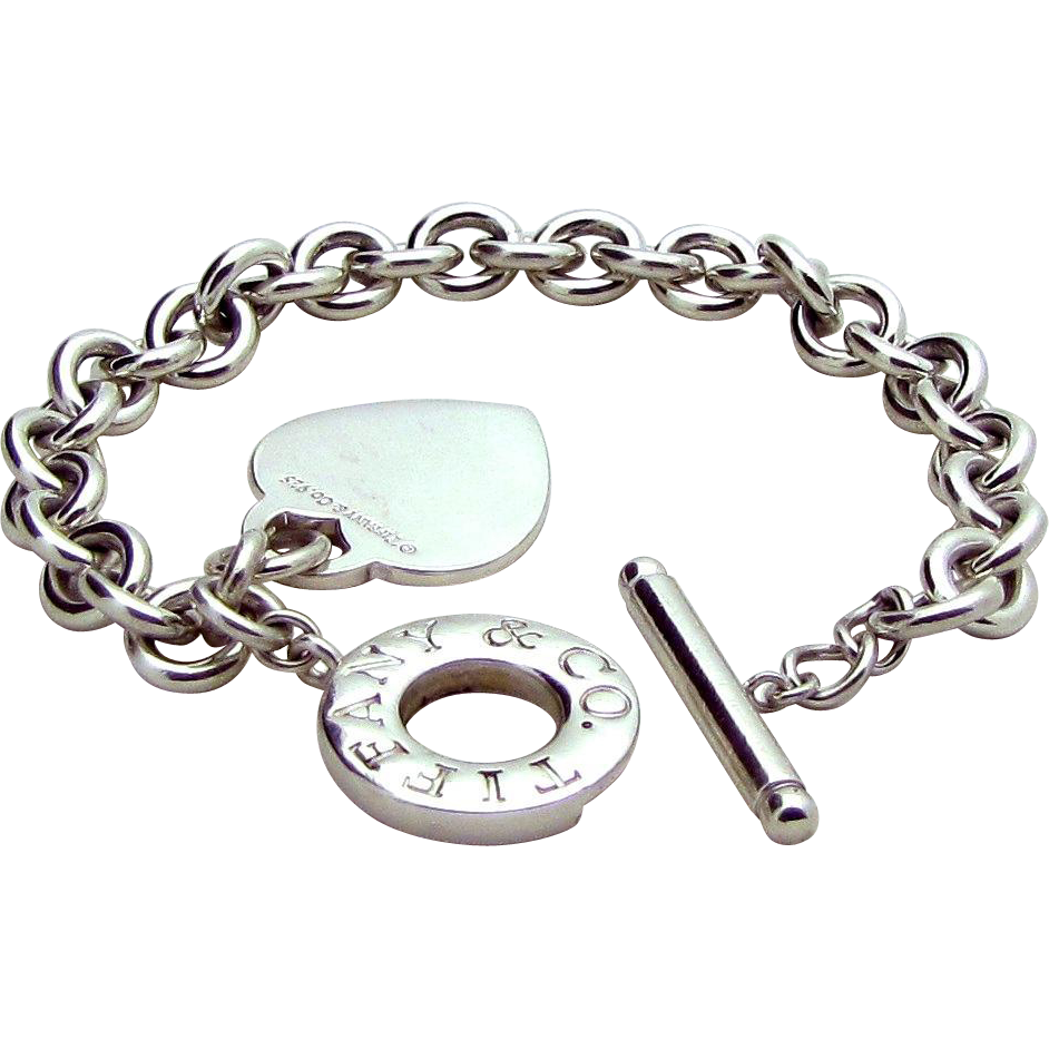 Authentic Tiffany Co Sterling Silver Toggle Heart Charm Bracelet Sold Ruby Lane