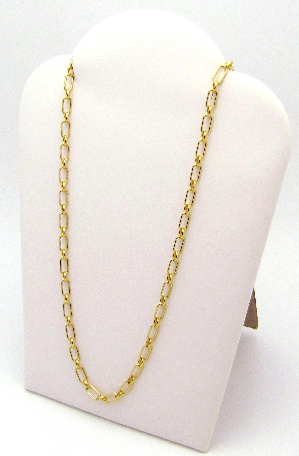 gold i oval white and long chain necklace tiffany co link