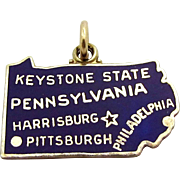 Vintage Sterling Silver Enameled Map of Pennsylvania Keystone State Charm 1960s