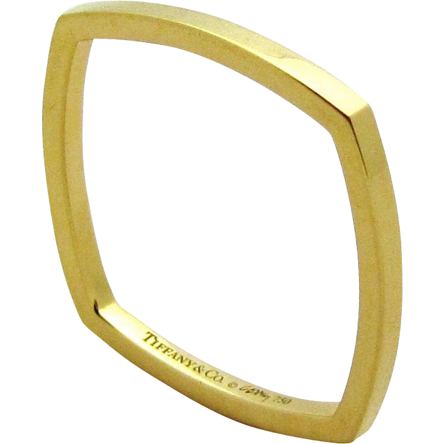 Tiffany & Co 18K Yellow Gold Torque Square Band Ring Size 7