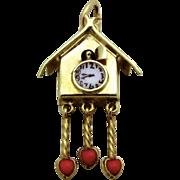 Vintage 14K Gold 3D Enameled Sloan & Co. Movable Cuckoo Clock Charm