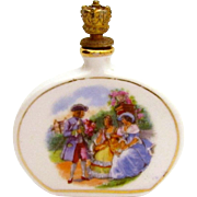 Vintage German Crown Top Perfume Scent Bottle with Victorian Style Scene