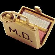 Vintage 10K Gold 3D Medical Doctor's Bag Charm 1950s Opens to Cigarettes!