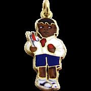 Vintage 14K Gold Black Boy w/Climbing Monkey on a Stick Toy Charm Sloan & Co. 1930s