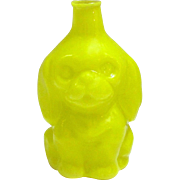 Rare Vintage German Figural Yellow Glass Dog Perfume Bottle