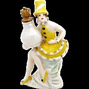 Vintage Harlequin Carnival Girl w/Top Hat German Crown Top Perfume Bottle