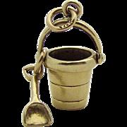 Vintage 14K Gold 3D Sand Pail with Shovel Charm Movable 1940s