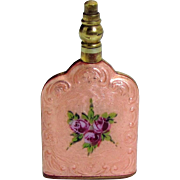 Beautiful Vintage Art Deco Guilloche Enamel German Perfume Bottle with Roses