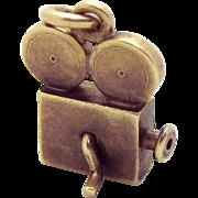 Vintage 14K Gold 1930s Mechanical Movie Camera Projector Charm with Crank Handle Eckfeldt & Ackley