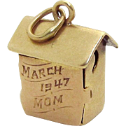 Vintage 10K Gold 3D Black Americana Sam & Lew Outhouse Charm 1940s