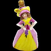 Vintage German Crown Top Figural Perfume Bottle *Victorian Woman in Dress*